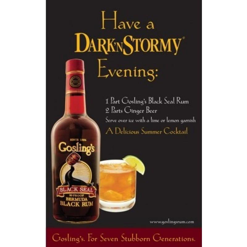 Gosling´s Dark and Stormy cocktailpakke, med en fl. Rom og 6 fl. Ginger Beer
