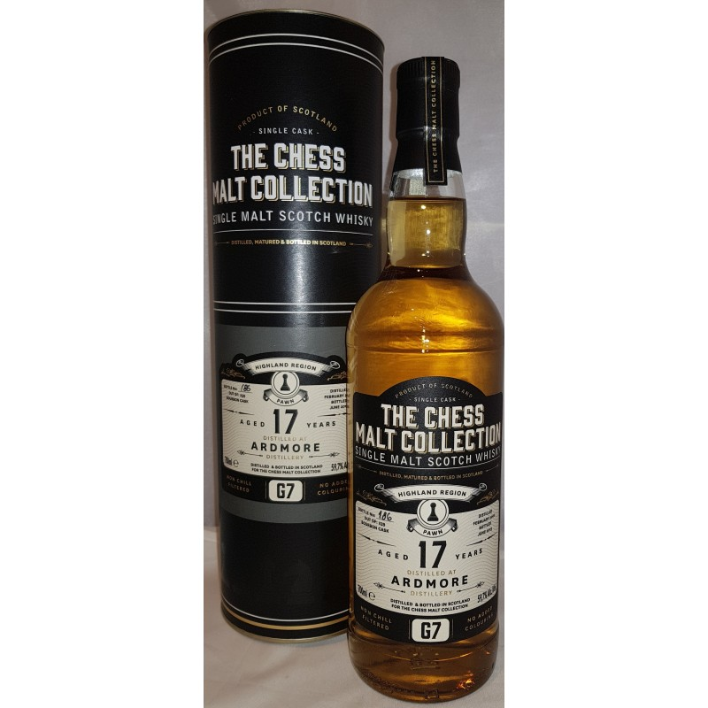 The Chess Malt Collection, Ardmore 17 yo Bourbon Cask, Single Malt Whisky - The Black Pawn - G7