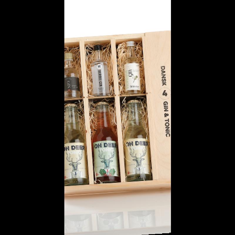 Dansk Gin og Tonic adventskalender i flot trækasse
