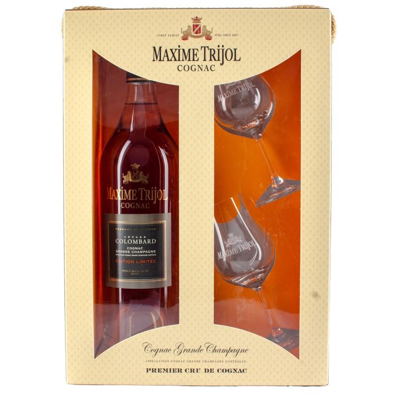 Maxime Trijol, Cognac, Colombard, Limited edition, Grande Champagne, Gaveæske med to flotte glas