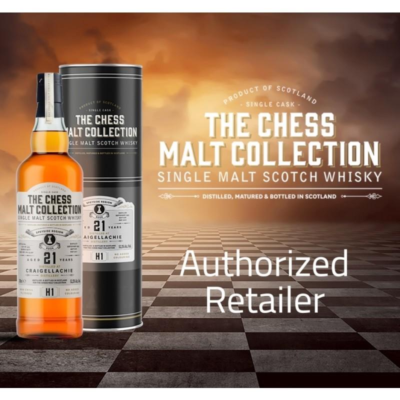 The Chess Malt Collection, Craigellachie 21 års, Single Malt Whisky - White Rook - H1
