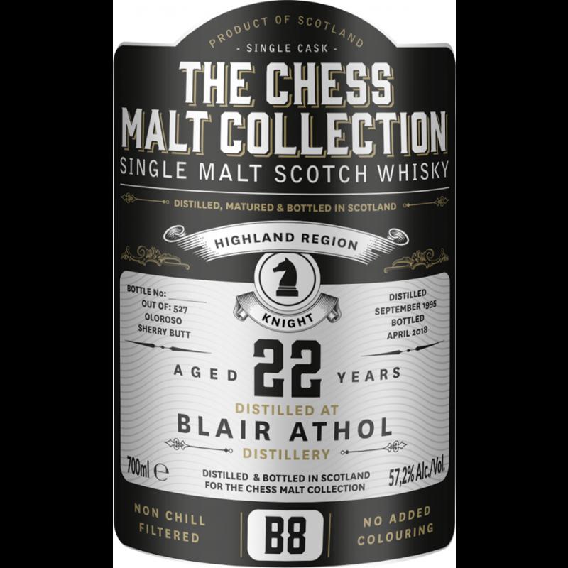 The Chess Malt Collection, Blair Athol 22 års, Single Highland Malt Whisky - Black Knight - B8t Whisky - Black Knight - B8