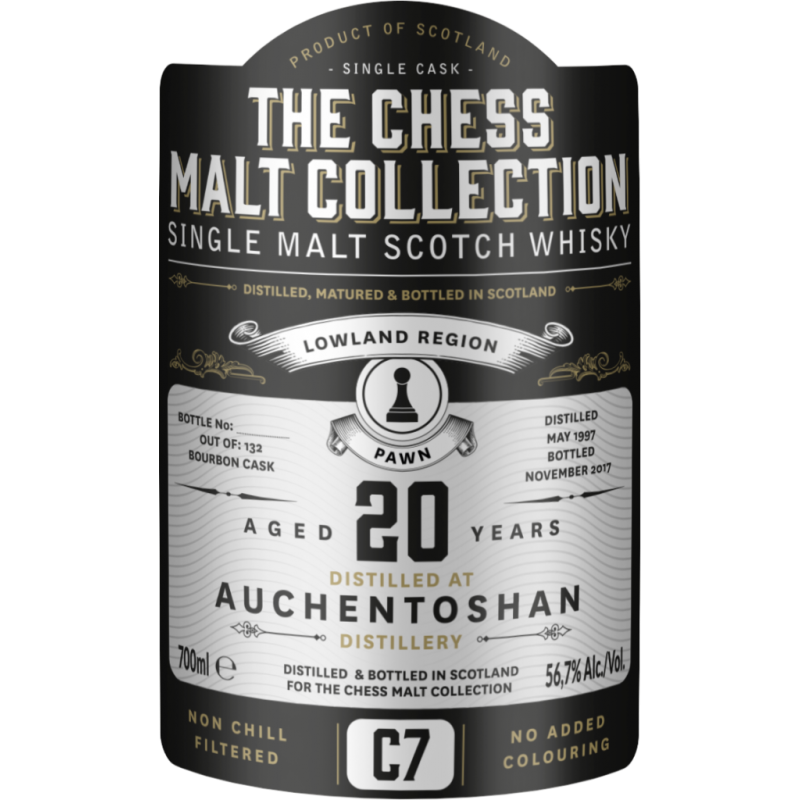 The Chess Malt Collection, Auchentoshan 20 års, Single Malt Whisky - Black Pawn - C7