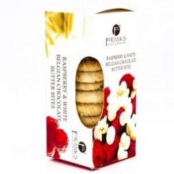Frank's Luxury Biscuits, Hvid chokolade & hindbær, 150 g